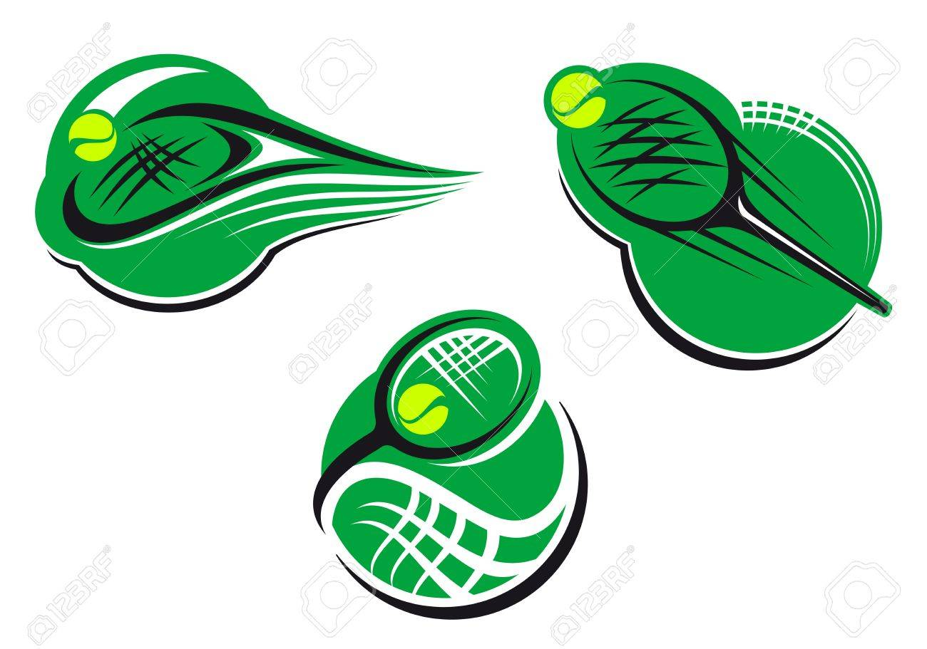 Tennis sports icons and symbols with packet and ball Stock Vector - 14160528