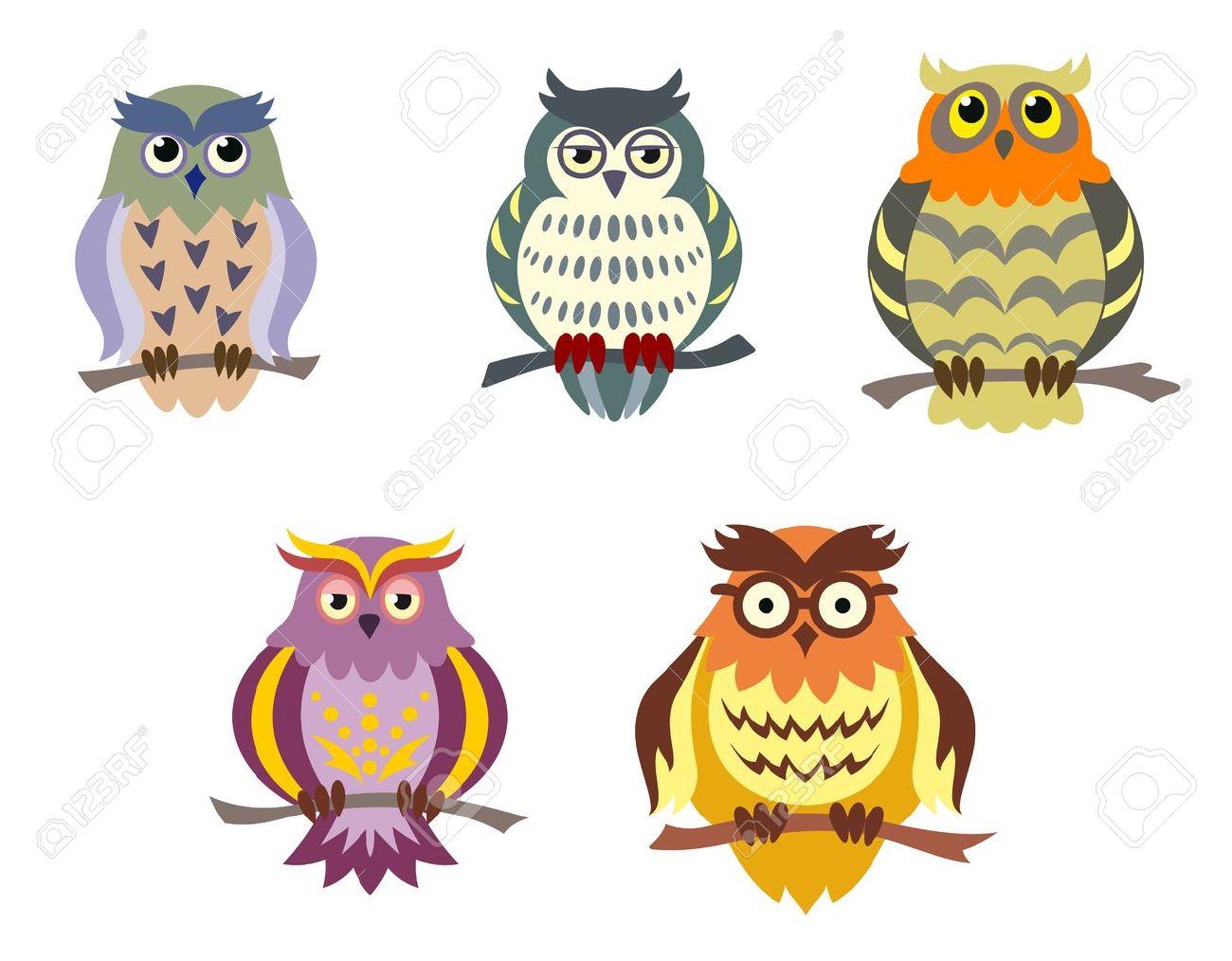 Color cartoon owls set in doodle style for funny design color cartoon owls set in doodle style for funny design 14160542 voltagebd Images