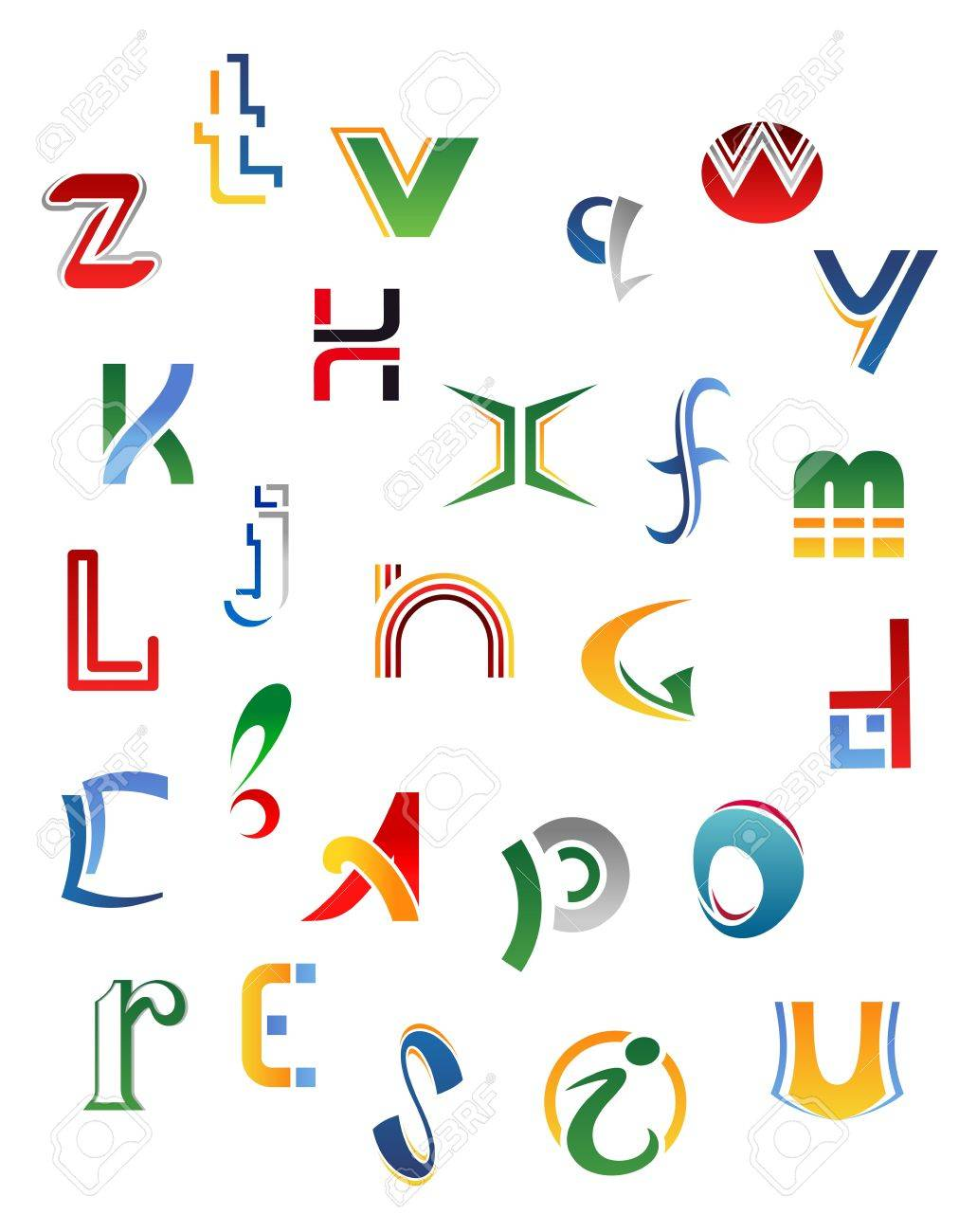 Set Symbols Letters And Icons For Alphabet Design Royalty Free