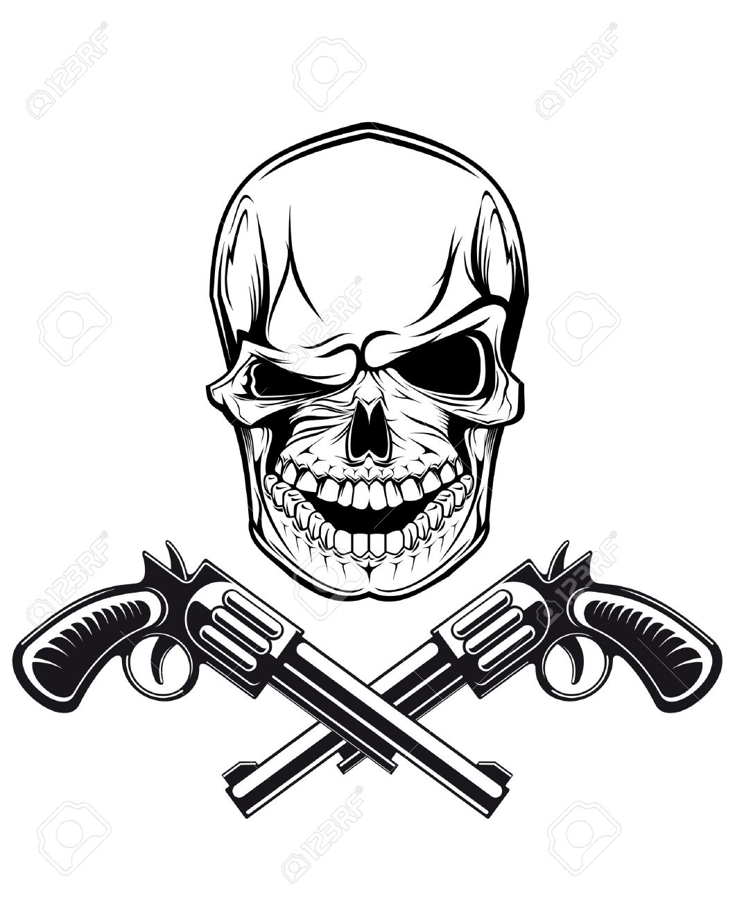 Smiling skull with revolvers for tattoo design Stock Vector - 14400010