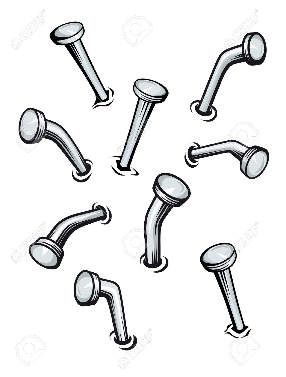Set of nails on wall in cartoon style