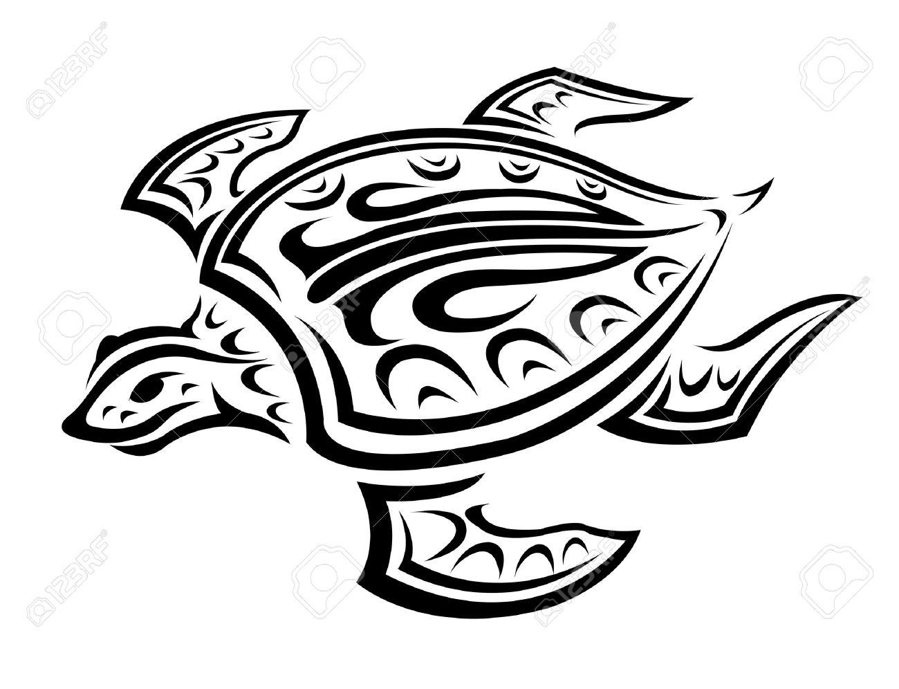 Tribal Turtle Drawings Underwater turtle in tribal