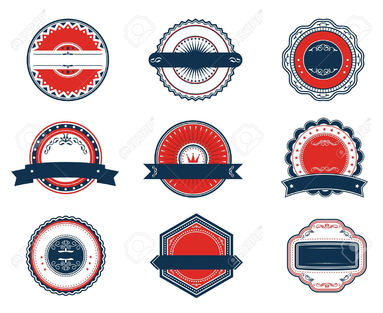 Retro blue and red labels set for sticker tag emblem or banner design stock