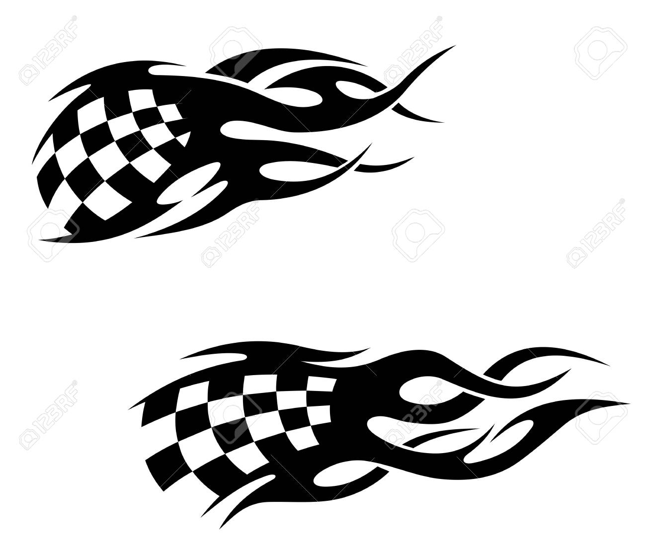 Tattoos with checkuered flag in tribal style Stock Vector - 14759988