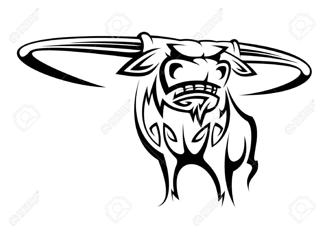 Wild horned buffalo in cartoon style for mascot design Stock Vector - 14759993