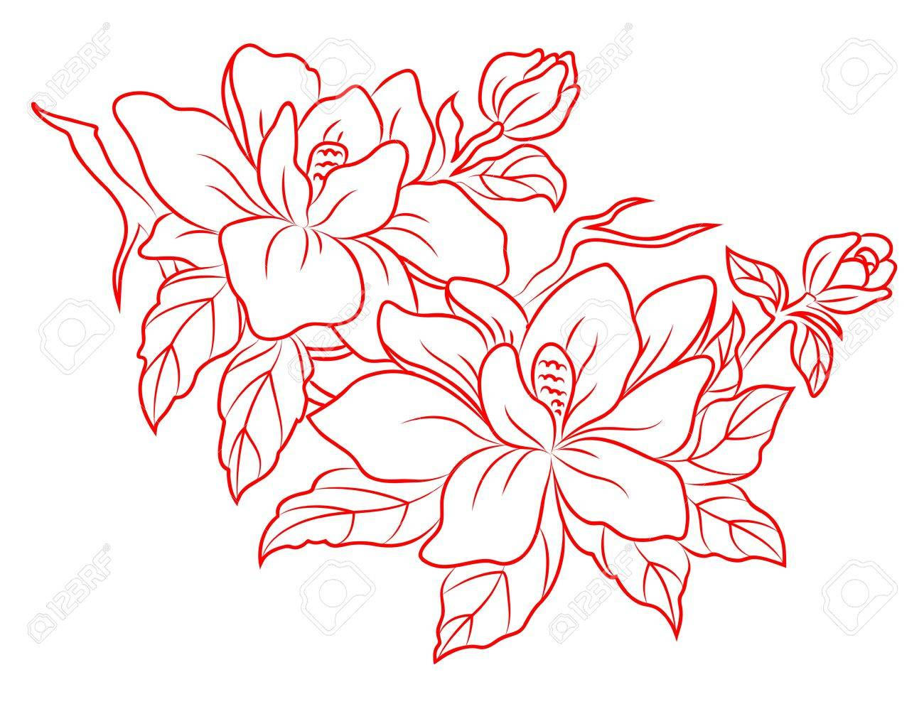 Flowers in chinese retro style for embellish design Stock Vector - 14833014