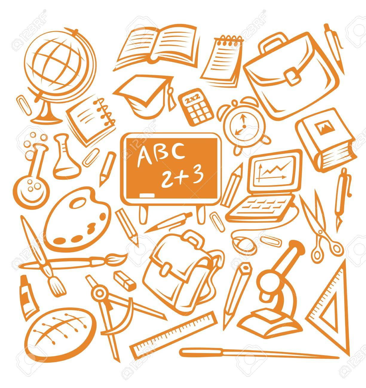 Back to school - many isolated education objects Stock Vector - 14933249