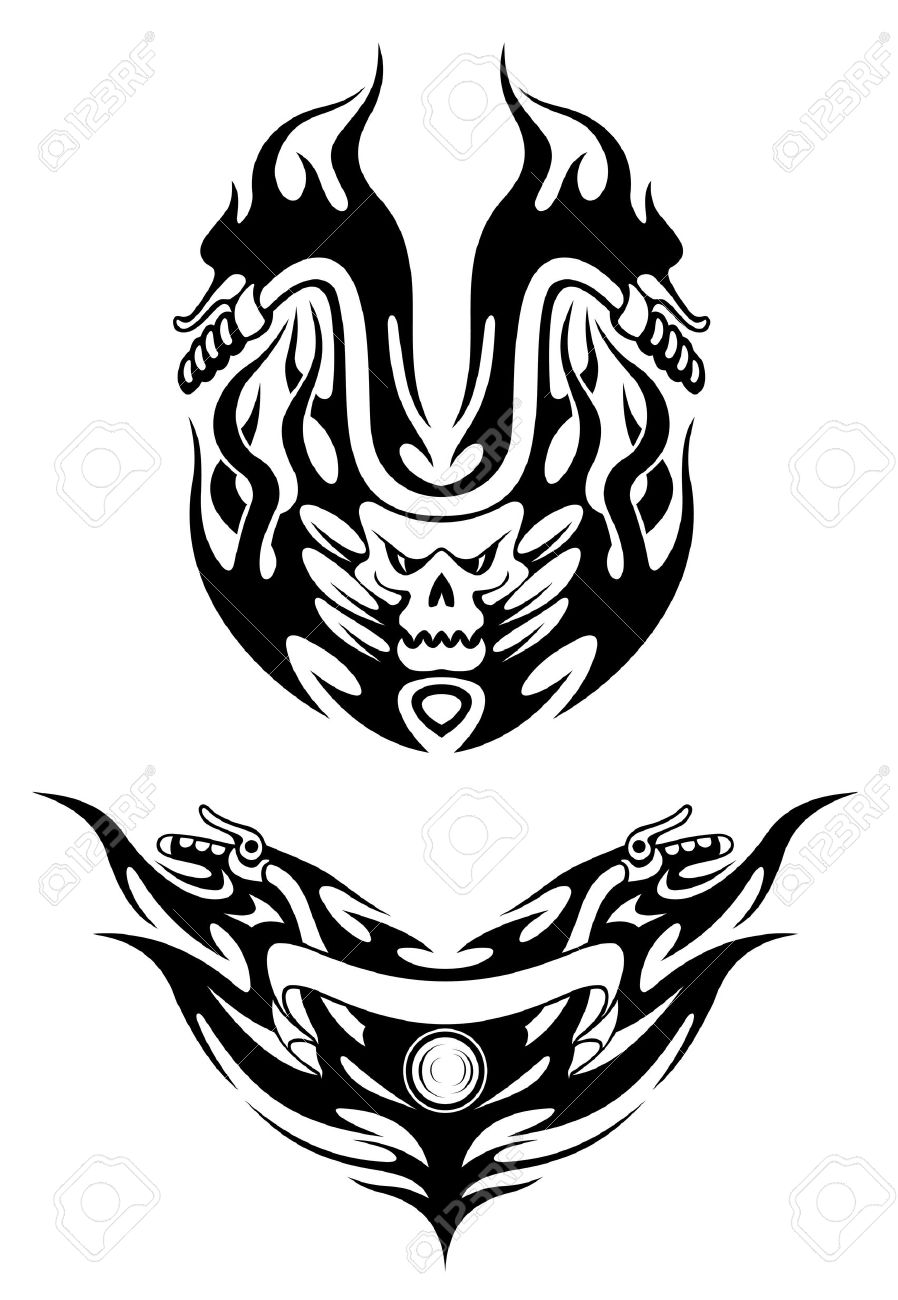 Tribal design t shirt - Two Bike Tattoos In Tribal Style For T Shirt Design Stock Vector 15073801