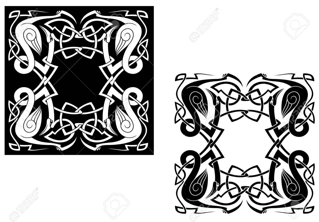 Herons with ornamental elements and knots in celtic style Stock Vector - 15073808