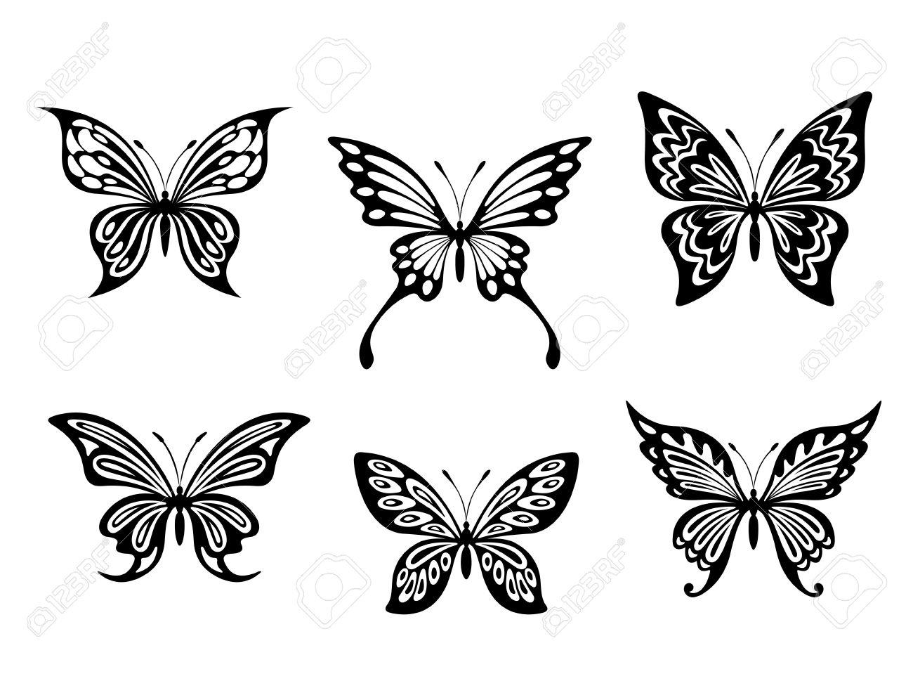 Schwarzer Schmetterling Tattoos Und Silhouetten Auf Weißem ...
