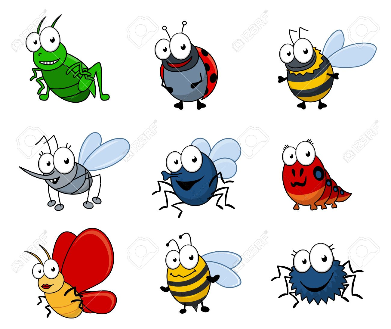 set of cartoon insects isolated on white background royalty free rh 123rf com cartoon insects pictures cartoon insects prints