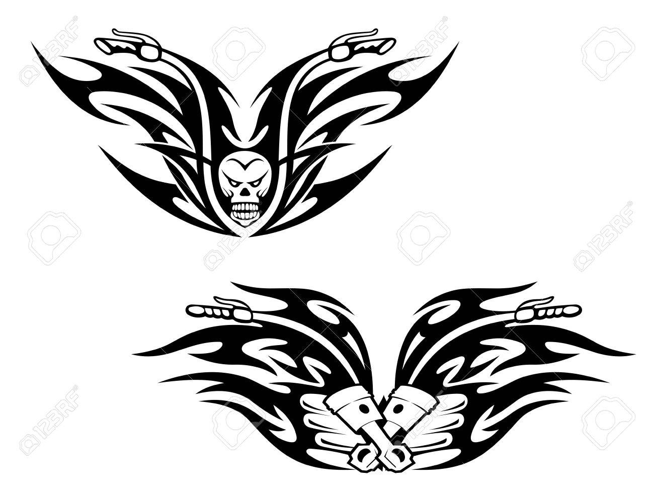 Black Bikes Tattoos With Flames And Graphic Elements Royalty Free