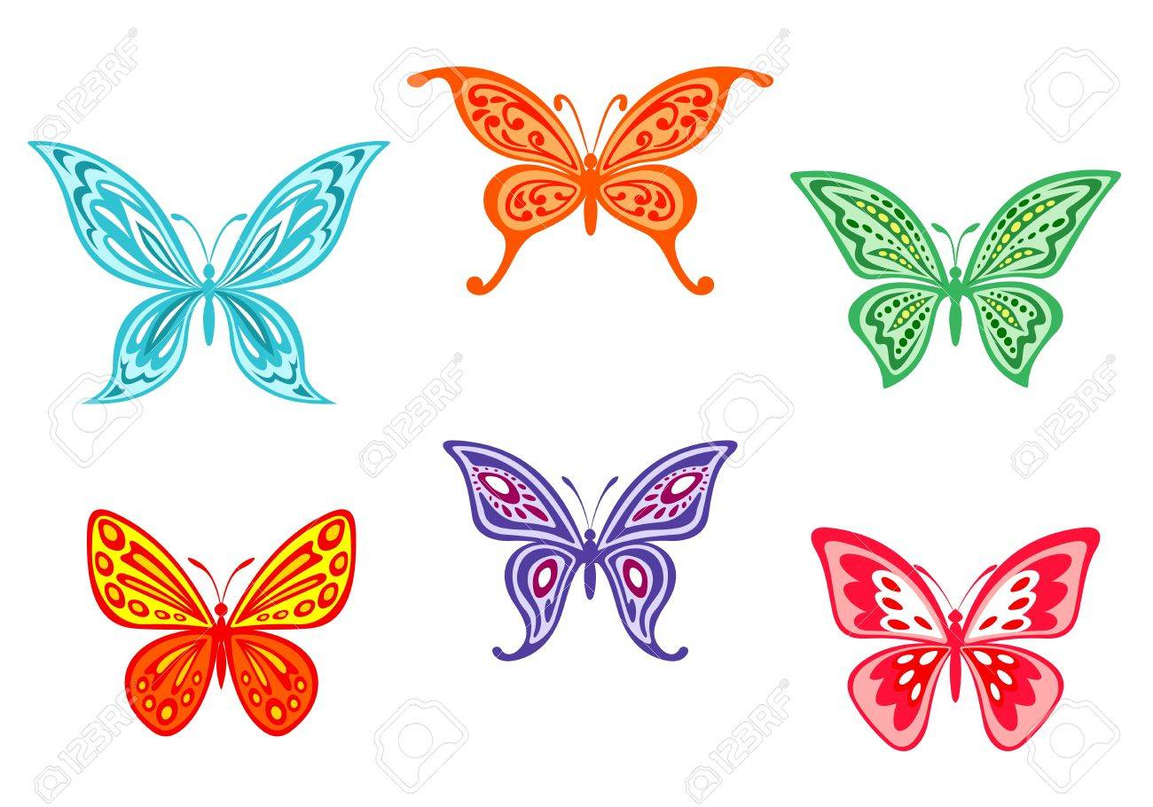 Set of colorful butterflies isolated on white background Stock Vector - 15533314