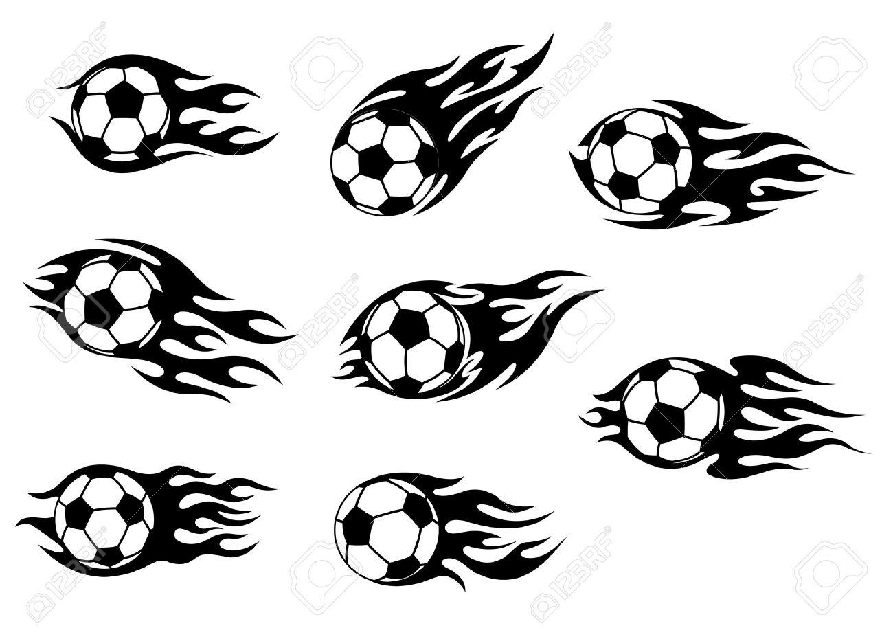 Fútbol Y Fútbol Tatuajes Con Llamas Tribales Ilustraciones