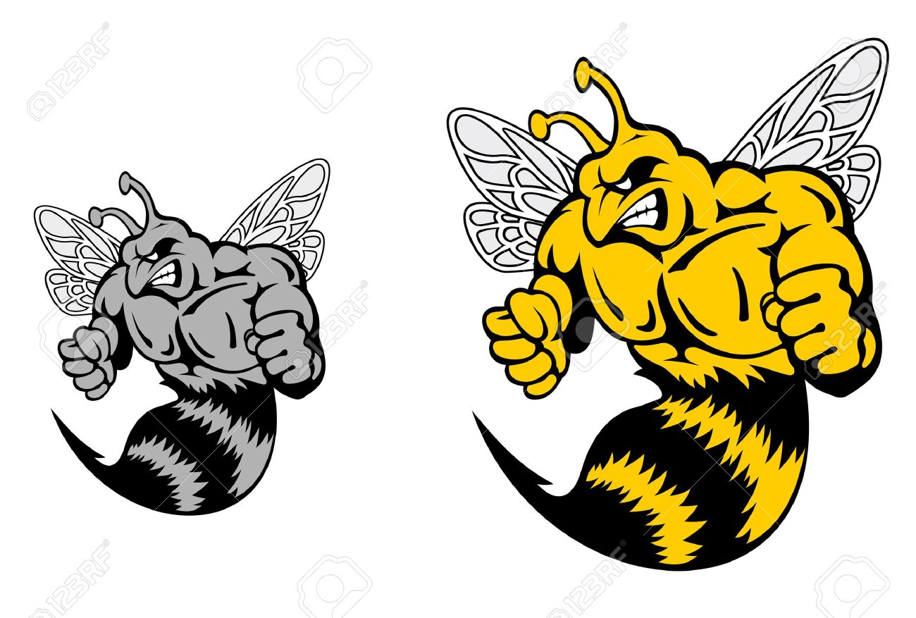 Angry Hornet Or Yellow Jacket Mascot In Cartoon Style Royalty Free