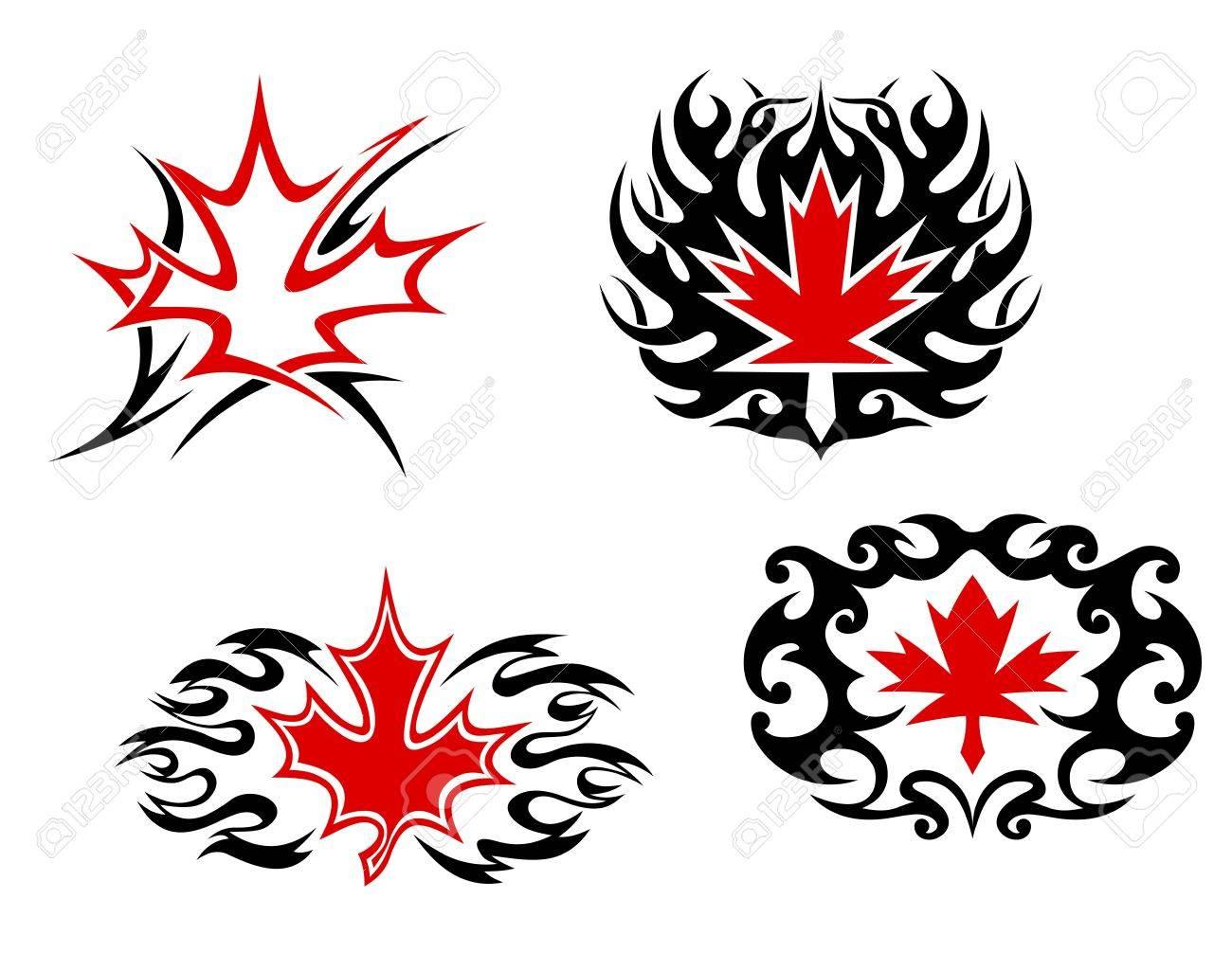 Maple Mascotas Hoja Y Símbolos Para El Diseño Del Tatuaje