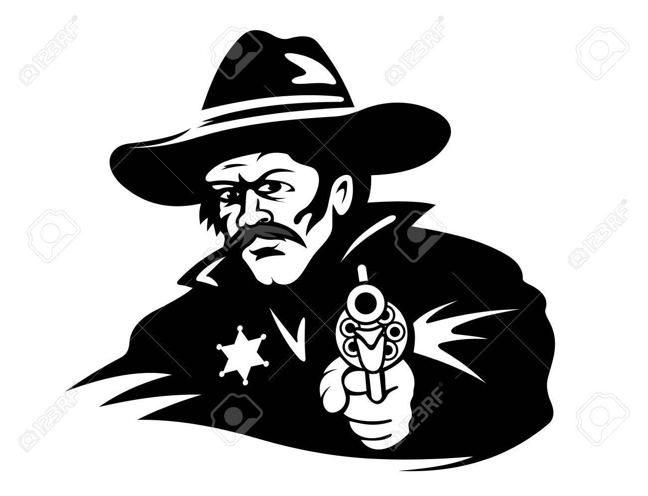 Sheriff With Gun in Cartoon