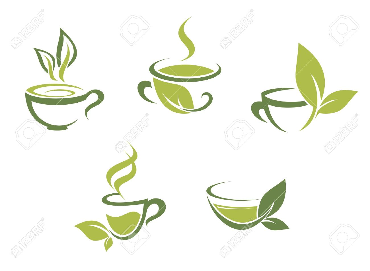 Cups of fresh tea and green leaves Stock Vector - 16210688