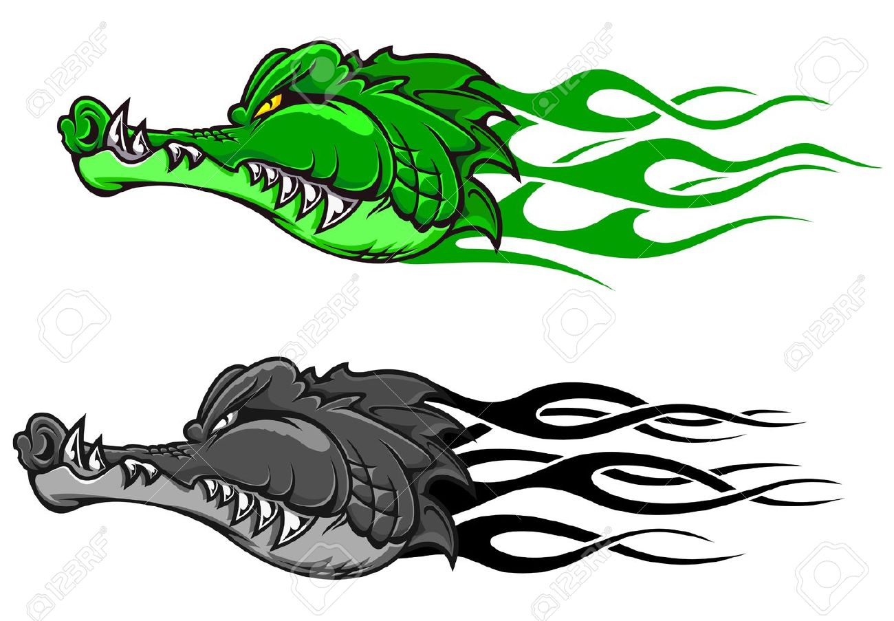 Danger crocodile tattoo with tribal flames for mascot design Stock Vector - 16210701