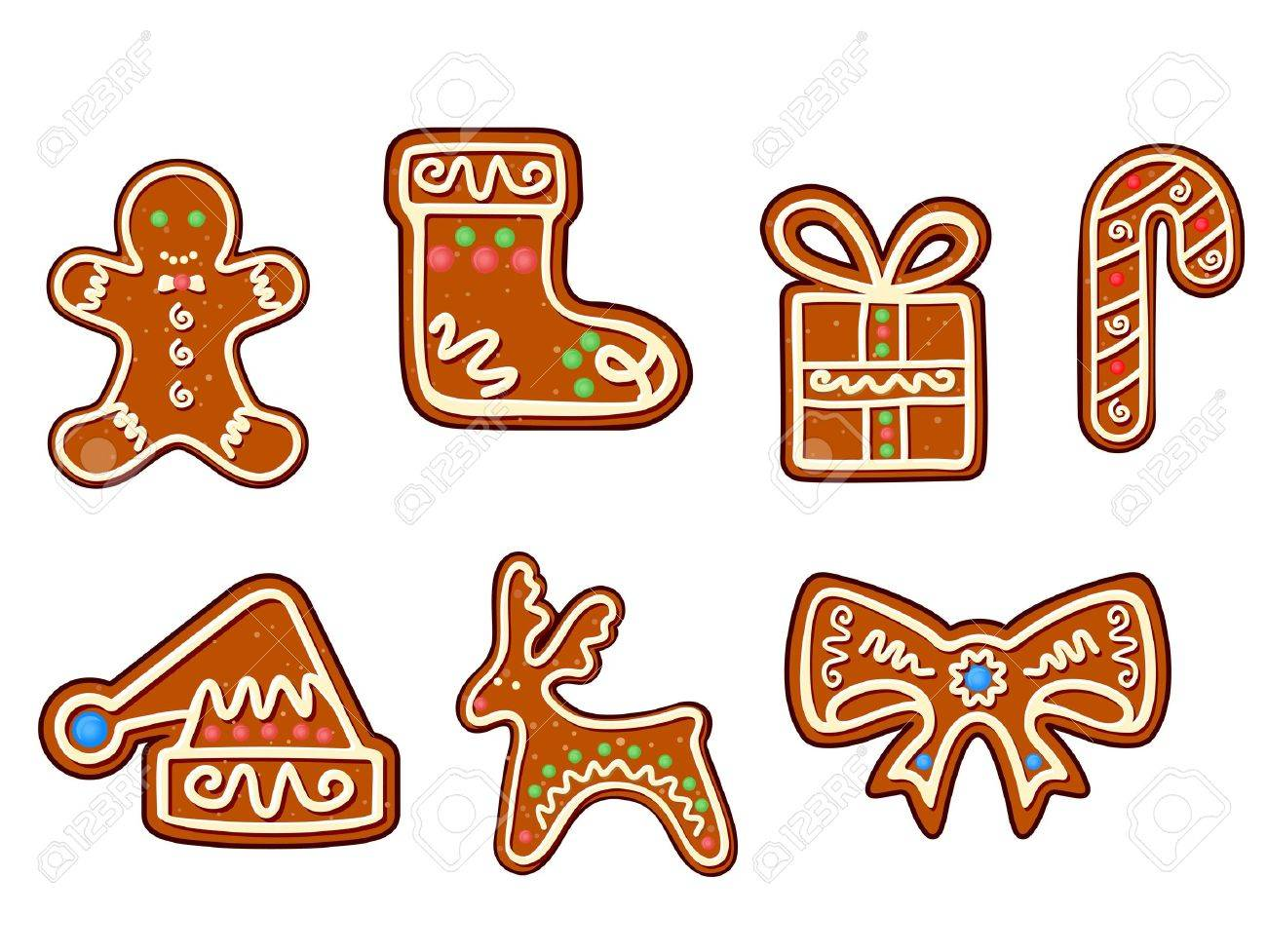 Gingerbread christmas holiday objects set isolated on white Stock Vector - 16441942