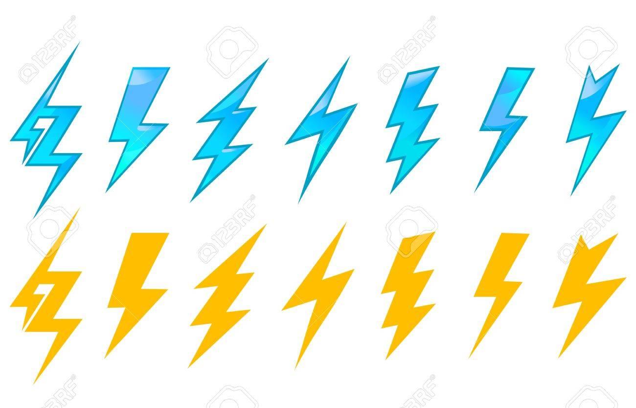 Lightning icons and symbols set isolated on white background Stock Vector - 16653962