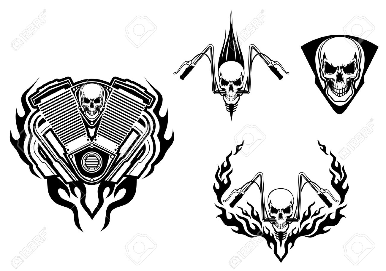 Motorcycle with biker tattoo - Death Monster For Racing Mascot Or Tattoo Design Stock Vector 16905384