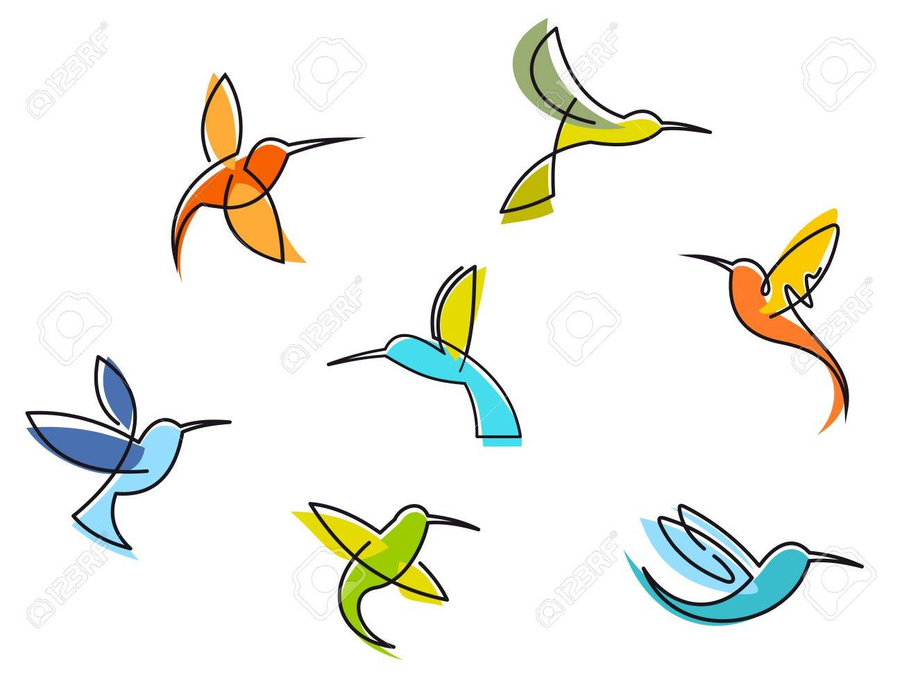 Abstract colorful hummingbirds set isolated on white background Stock Vector - 17441911