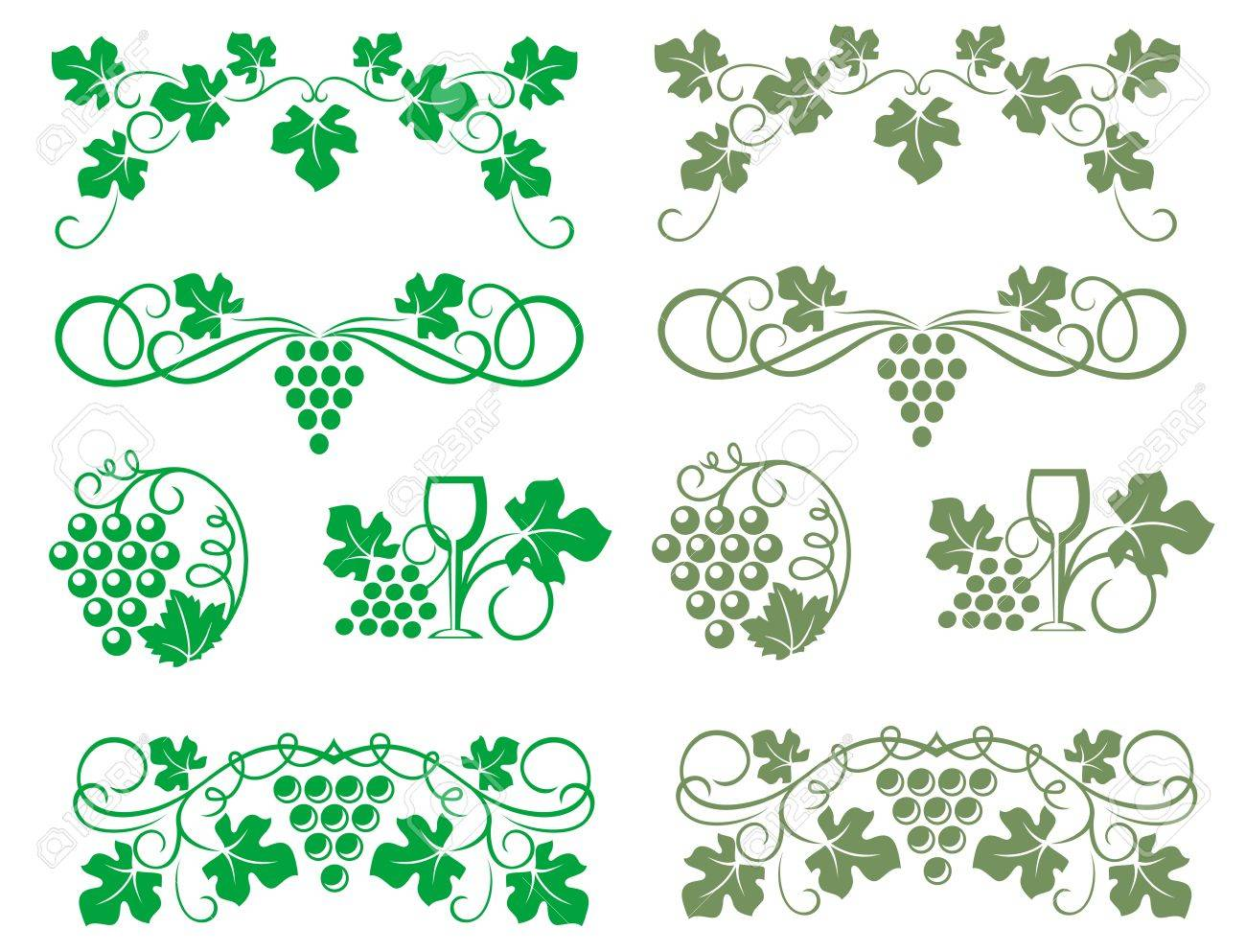 Grape swirls and elements for wine or viticulture industry design Stock Vector - 17441931