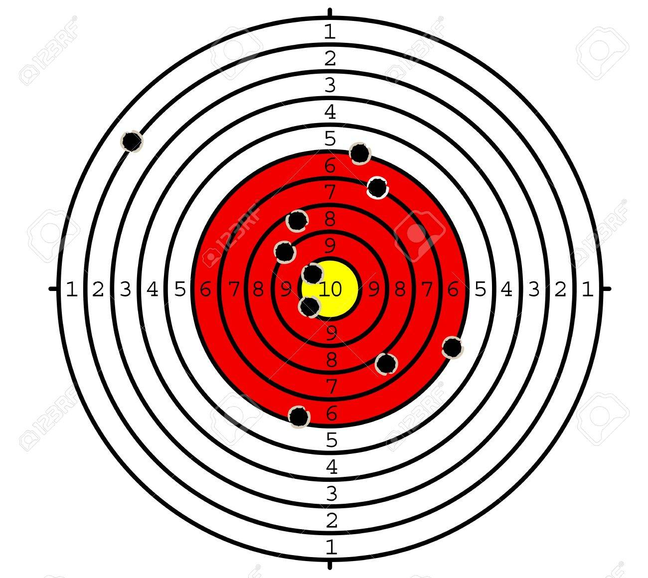 Shooting target with holes for sport or military design Stock Vector - 17441917