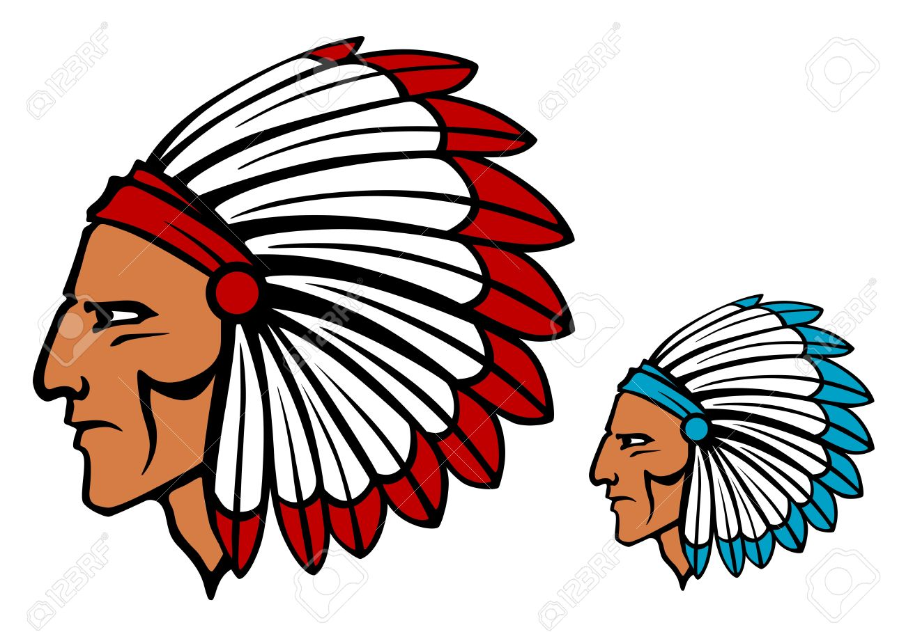 Brave tomahawk mascot in cartoon style for tattoo or another design Stock Vector - 17617832