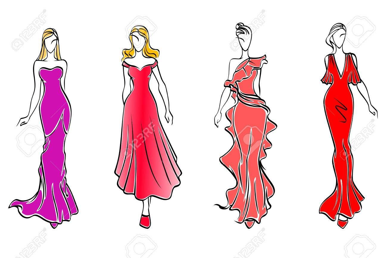 Mujeres Con Vestidos De Noche Para La Industria De Diseño De Moda