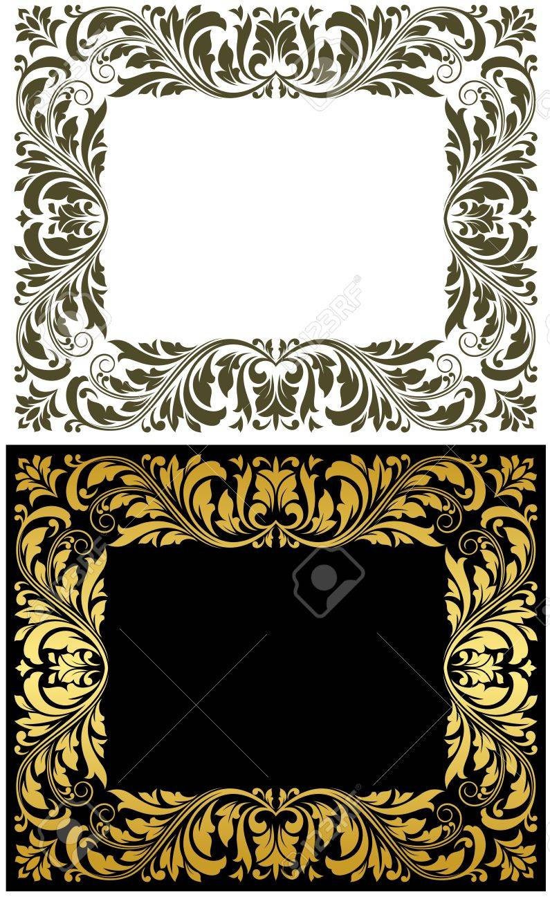 Retro Frames With Golden Embellishments For Design Royalty Free ...