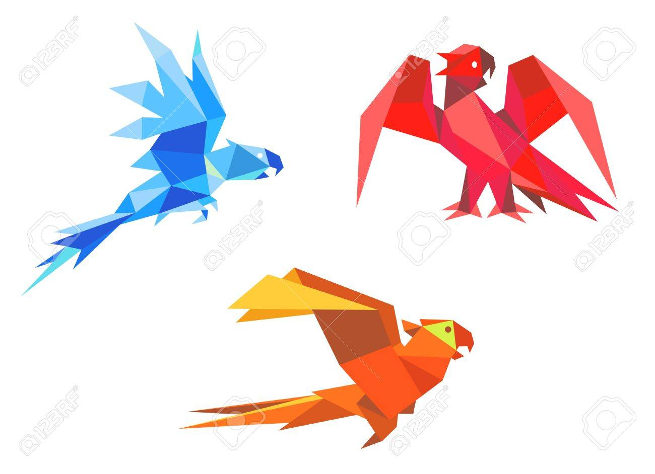 Parrots in origami paper style isolated on white background Stock Vector - 18118609