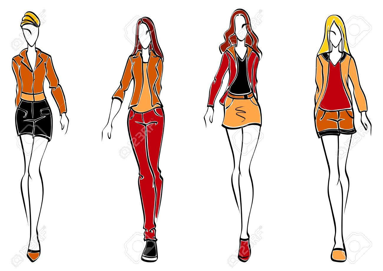 Modelos Casuales De La Moda En El Estilo De Dibujo Para El Diseño