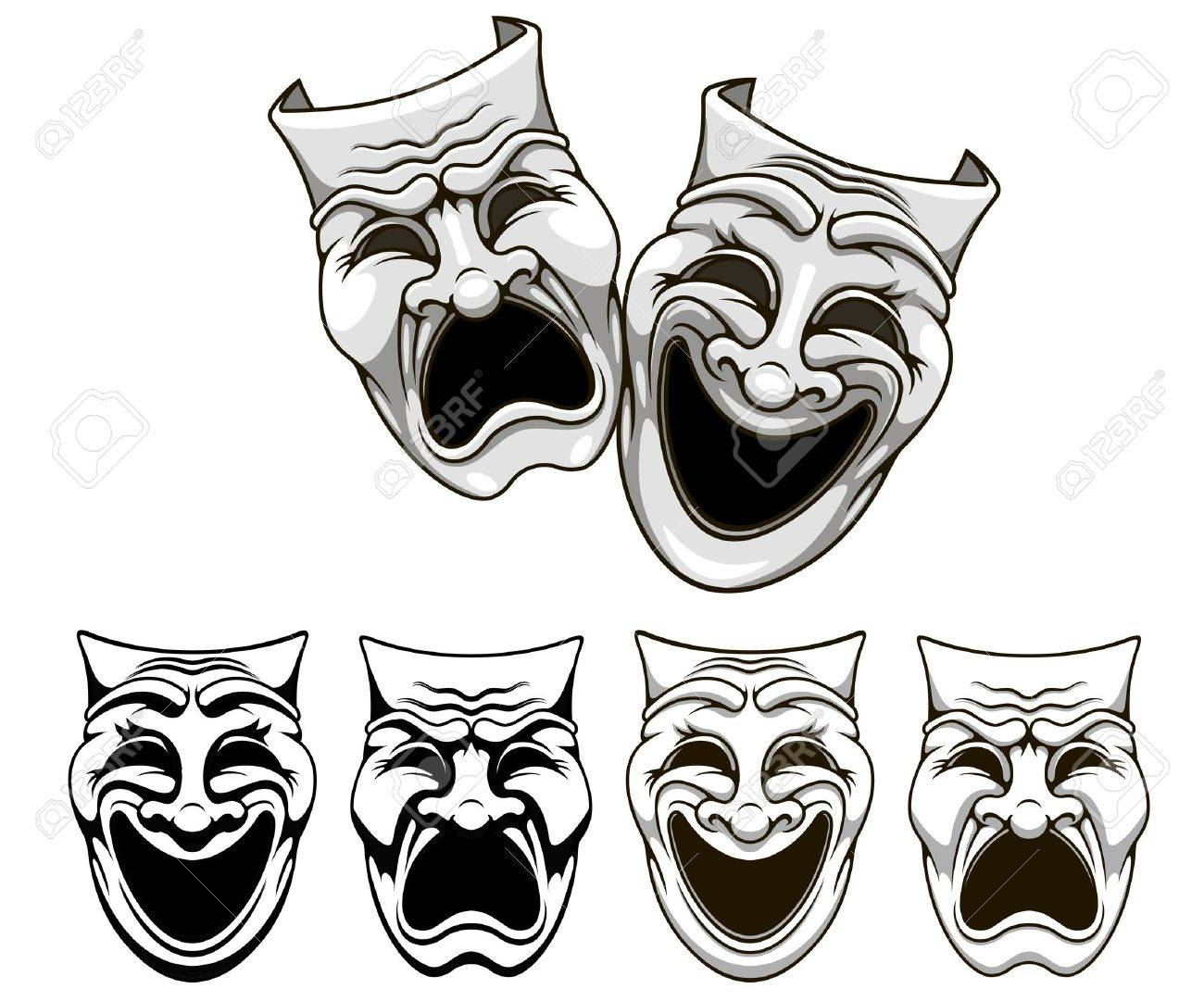 Tragedy and comedy theater masks set in cartoon style Stock Vector - 18118622