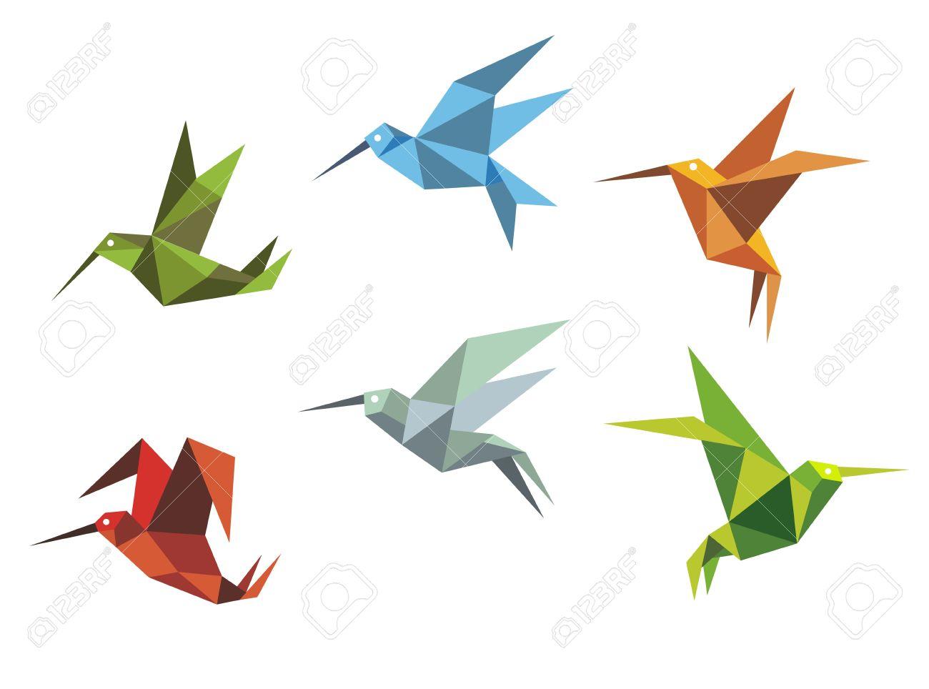 Origami Le colorful colibris volants dans le style origami isolé sur fond blanc