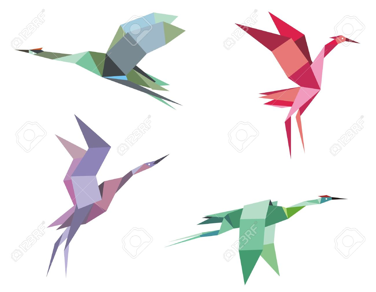 Cranes and herons birds in origami paper style for ecological or another design Stock Vector - 18380613