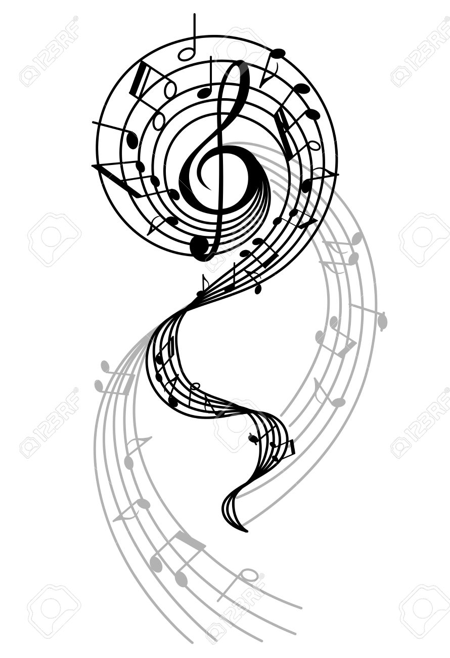 abstract musical swirl with notes and sounds for art design royalty rh 123rf com Swirl Tree Music Swirl