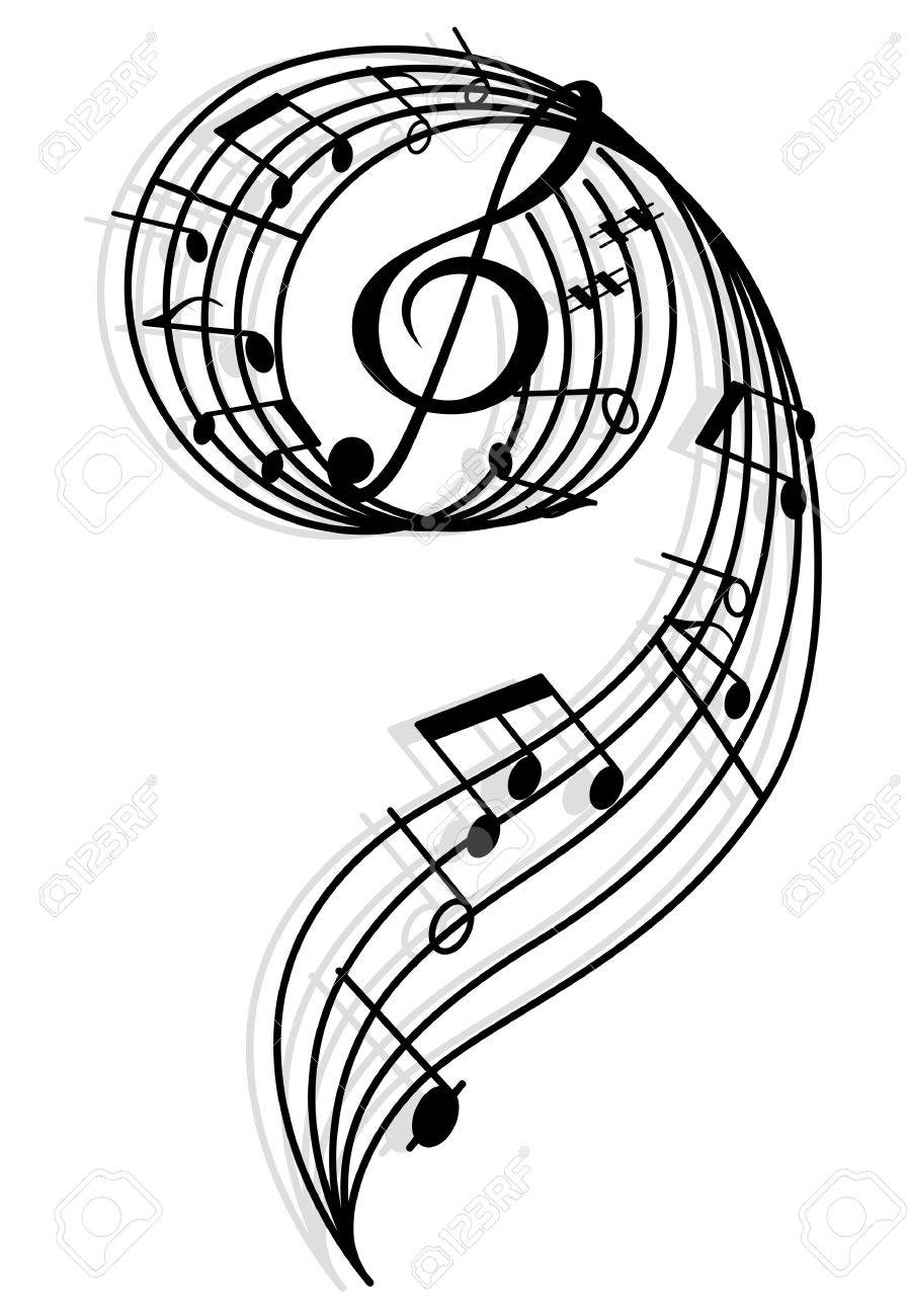 musical curly elements with clef and notes illustration for rh 123rf com Vector Colorful Music Notes Music Notes Vector Art Free