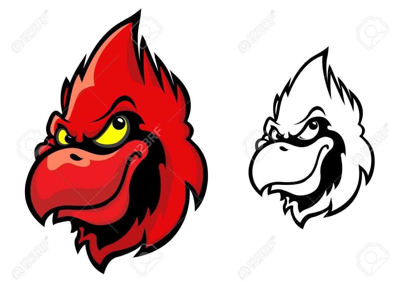 Red Head Pájaro Cardenal En Estilo De Dibujos Animados Para El ...