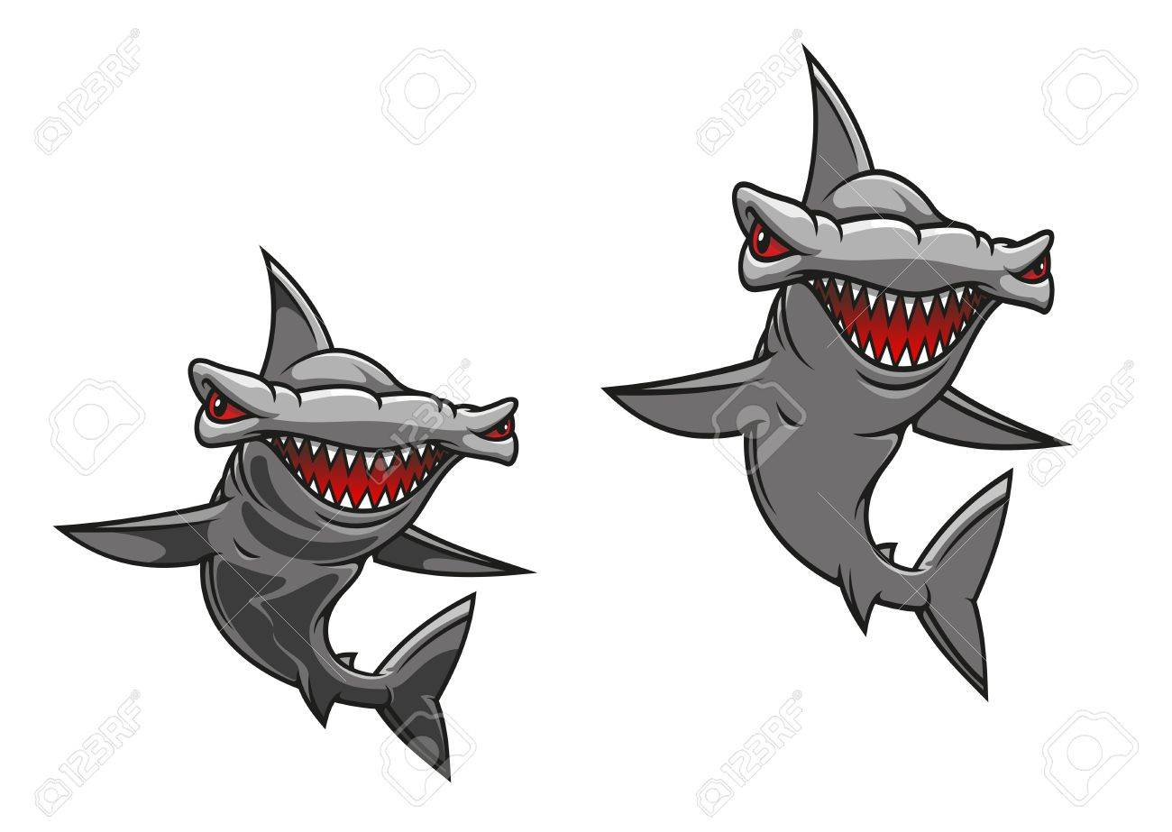 Hammer fish shark in cartoon style for mascot design Stock Vector - 19373196