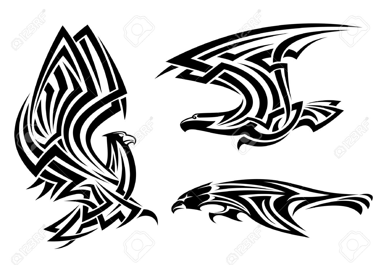 eeed8ad39 Tribal eagle, hawk and falcon set for tattoo or heraldry design Stock  Vector - 19976370