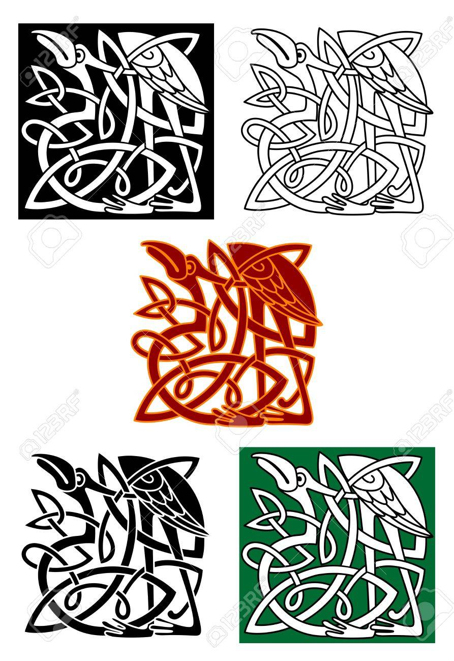 Celtic Totems With Heron Birds And Ornamental Elements For Medieval