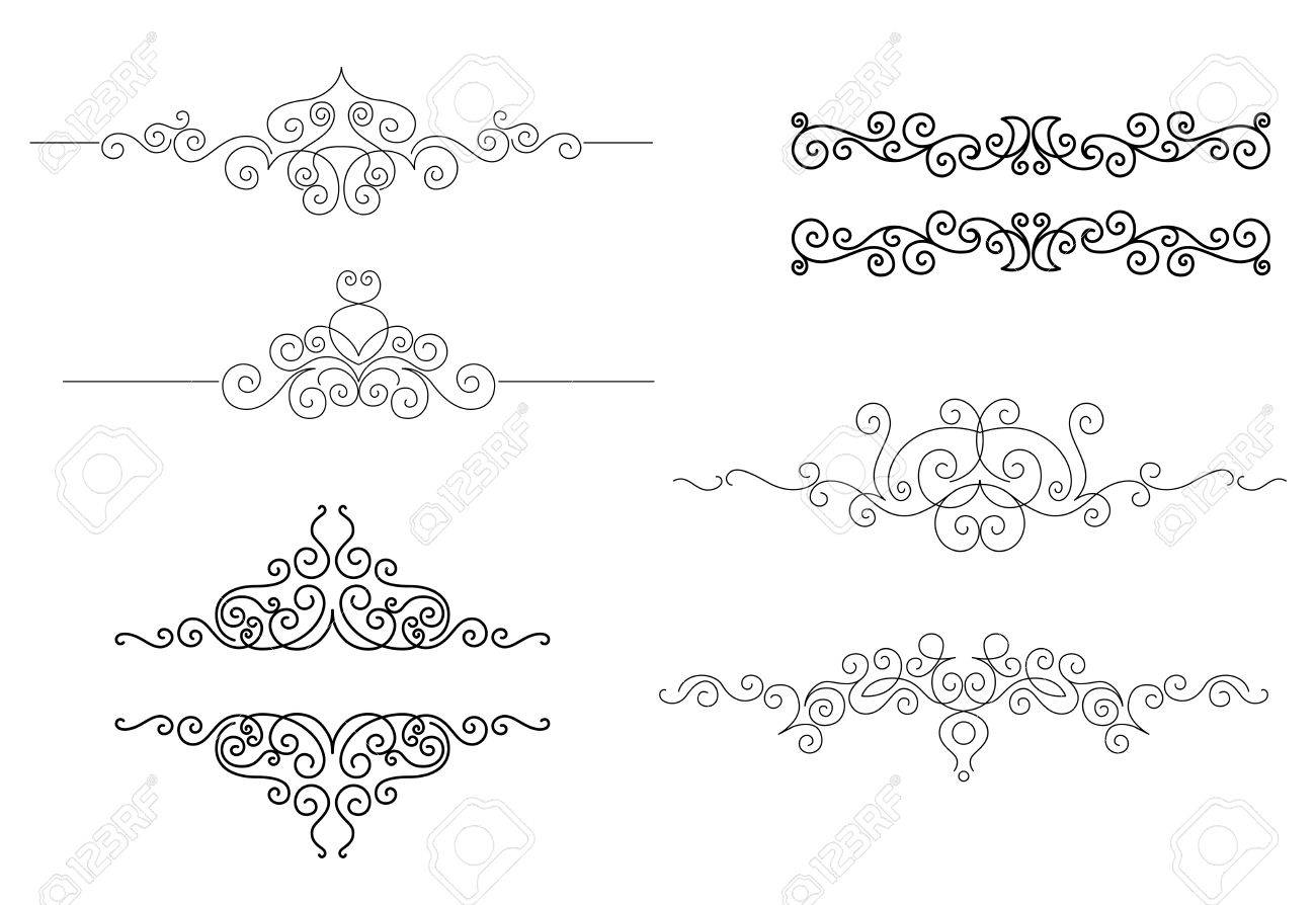 Monograms And Frames Set In Vignette Style For Design And Ornate ...