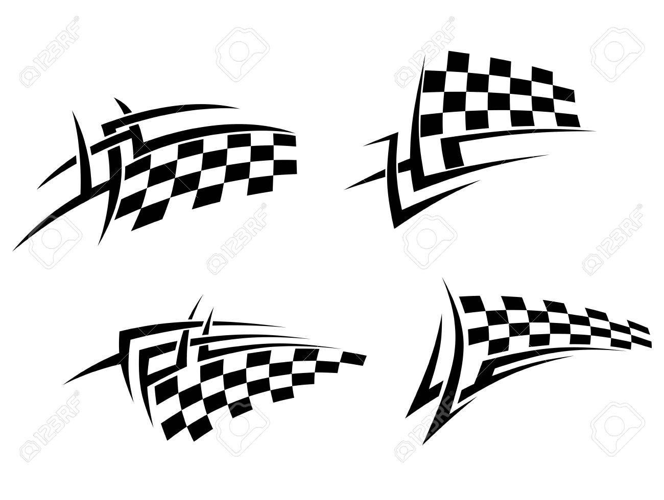 Tribal-Tattoos 20325238-Tribal-tattoos-set-with-racing-flag-for-sport-design-Stock-Vector