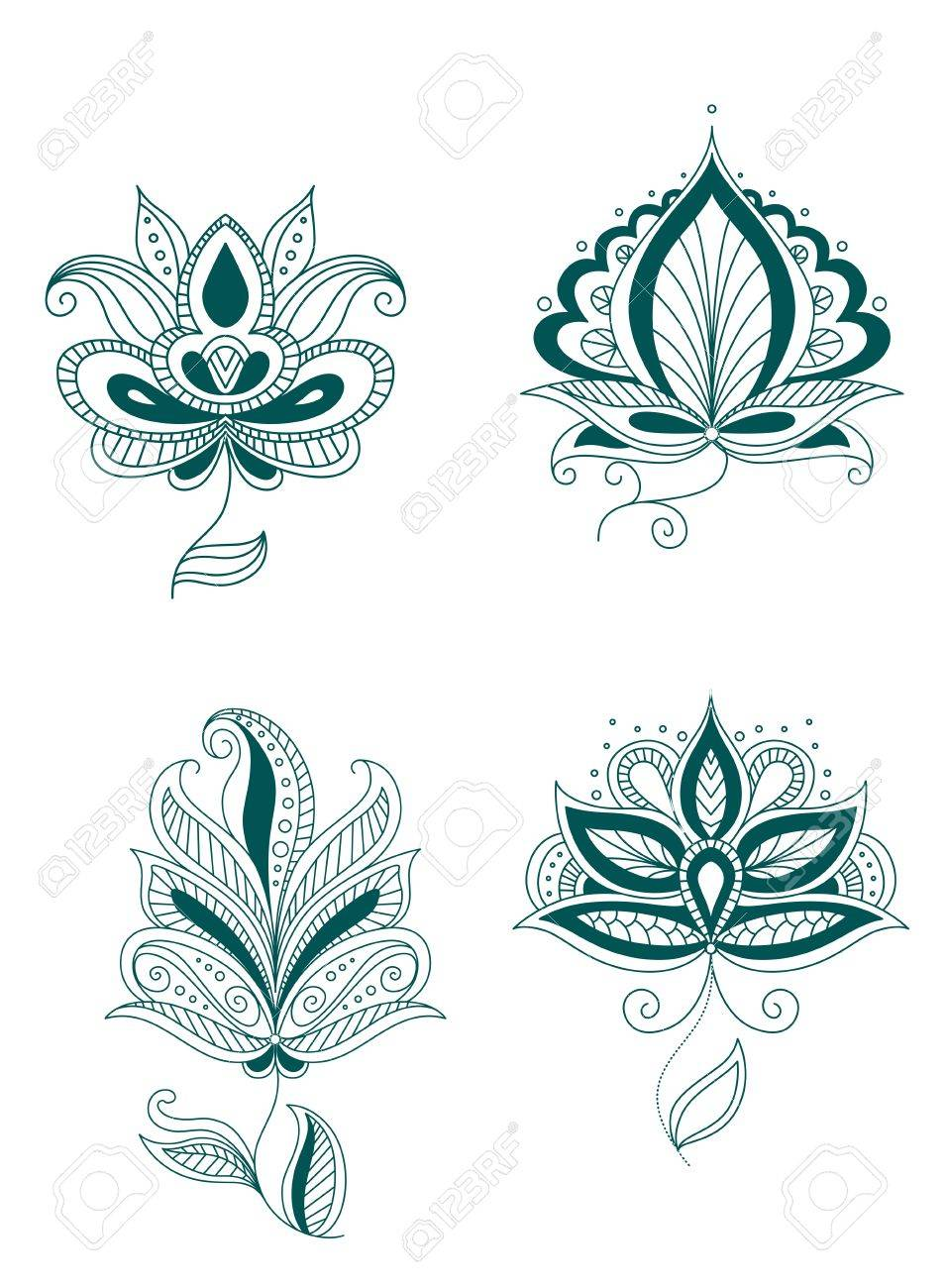 Set of abstract persian or indian flowers Stock Vector - 20444269