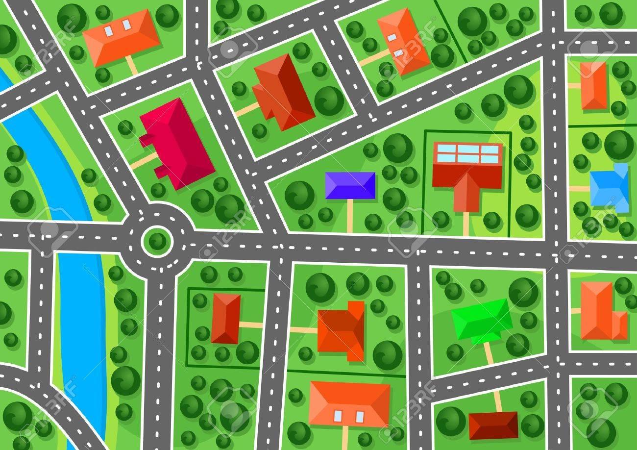 Map Of Suburb For Real Estate Or Navigation Design Royalty Free – Road Navigation Map
