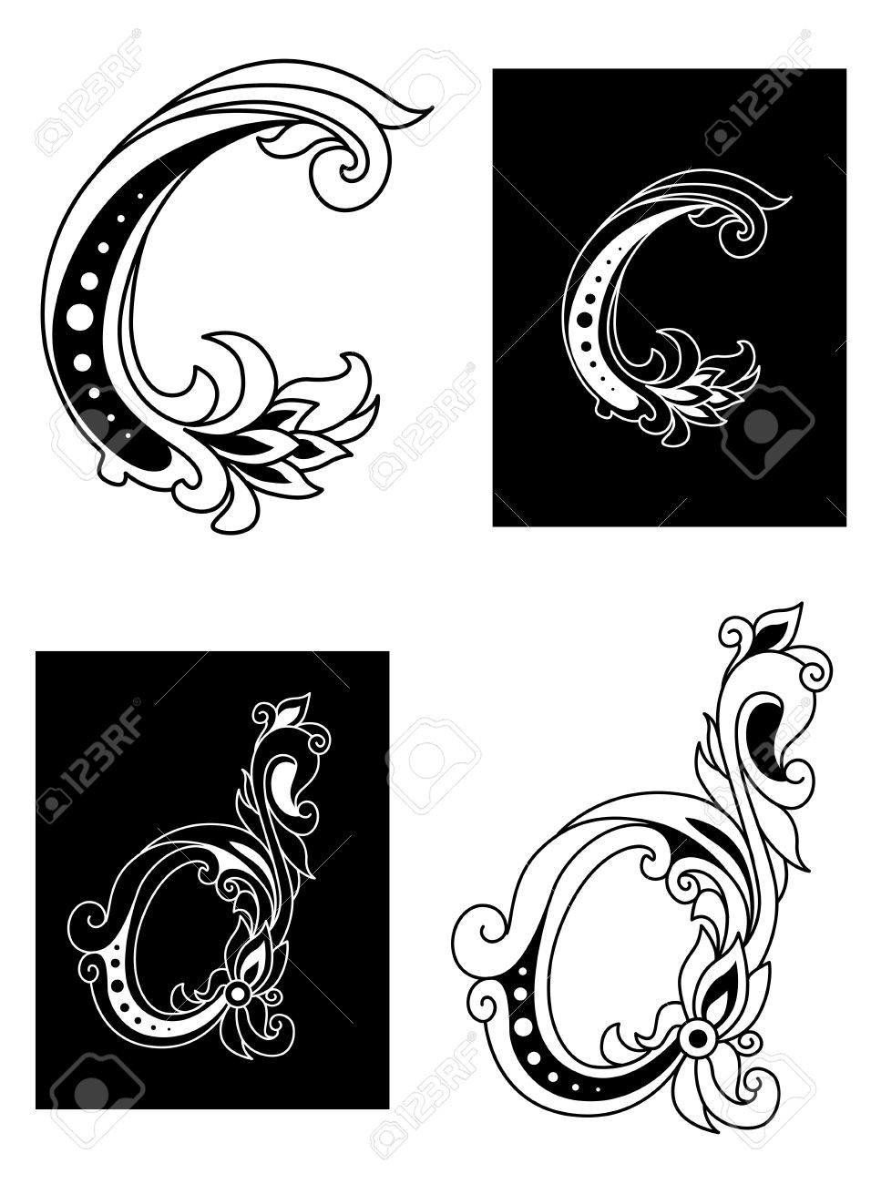 Decorative Letters Decorative Letters C And D In Floral Style Isolated On Background