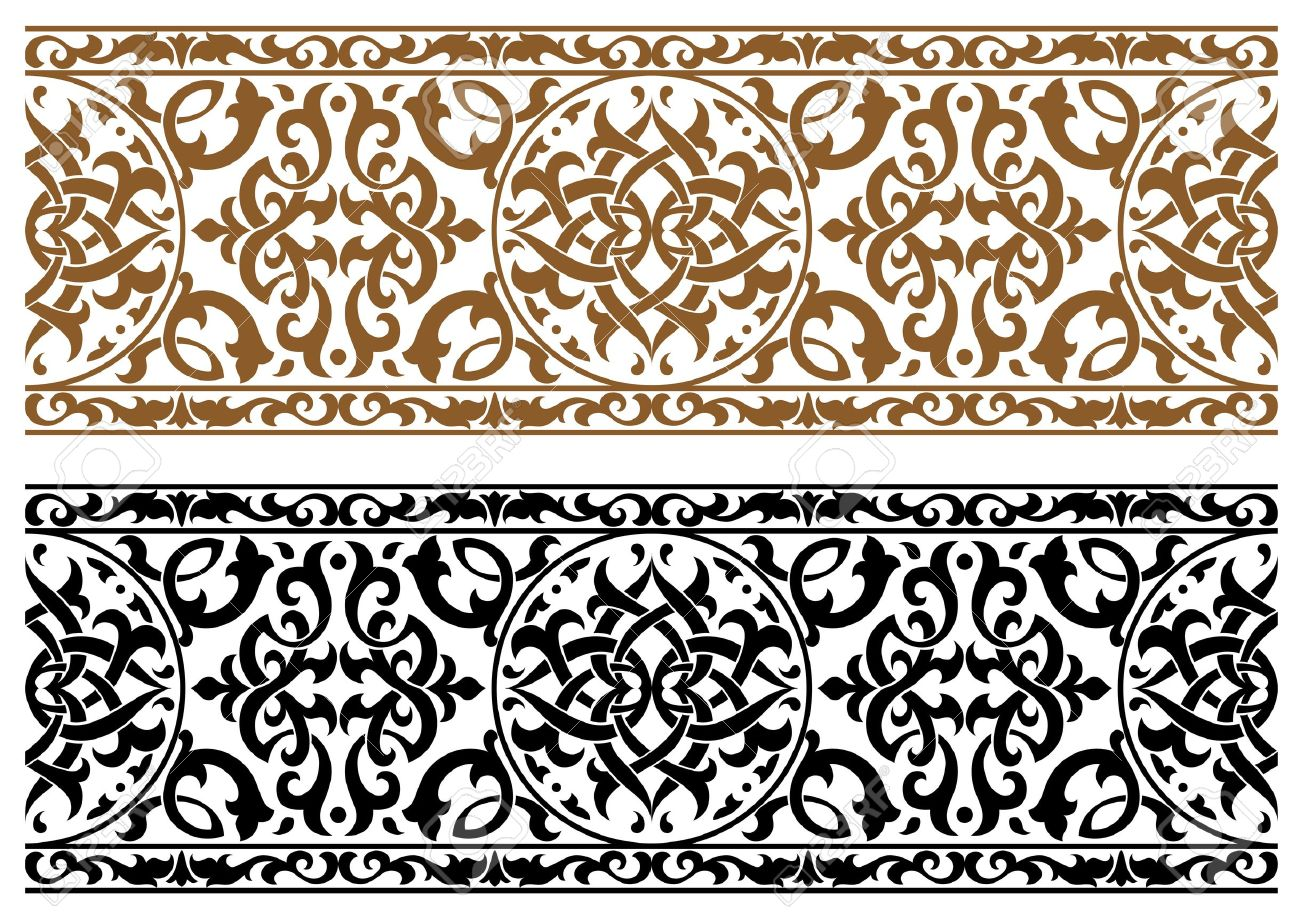Abstract arabic ornament in two colors for design and ornate Stock Vector - 20444264
