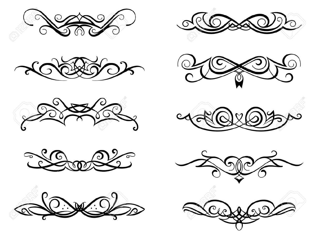 Vignettes And Monograms Set In Vintage Floral Style For Design ...